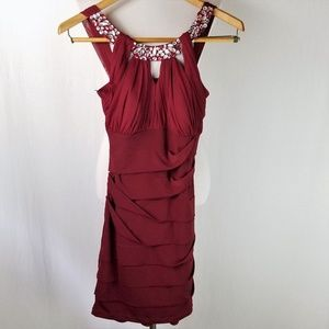 City Triangles Burgundy Red Jeweled Ruched Dress